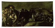 Pilgrimage To San Isidros Fountain, C.18213 Oil On Canvas Hand Towel