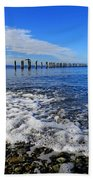 Pilings In The Ocean Hand Towel