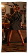 Pin Up Girl With Blow Torch Bath Towel