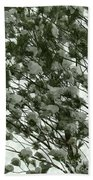 Pine Tree Branches Covered With Snow Bath Towel