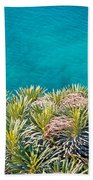 Pine Tree Branches With Turquoise Sea Background Bath Towel
