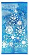 Pine Tree Snowflakes - Baby Blue Bath Towel
