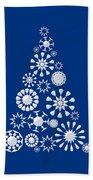 Pine Tree Snowflakes - Dark Blue Bath Towel