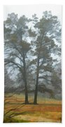 Pine Trees In Mist - Digital Paint 1 Bath Towel