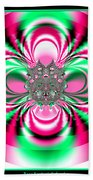 Pink And Green Rotating Flower Fractal 74  Bath Towel