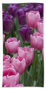 Pink And Purple Dutch Tulips Bath Towel
