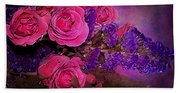Pink And Purple Floral Bouquet Bath Towel