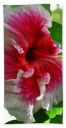 Pink And White Hibiscus Bath Towel