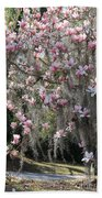 Pink Blossoms And Gray Moss Bath Towel