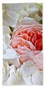 Pink English Rose Among White Roses Art Prints Bath Towel