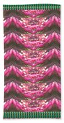 Pink Flower Petal Based Crystal Beads In Sync Wave Pattern Bath Towel