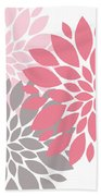Pink Gray Peony Flowers Bath Towel