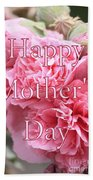Pink Hollyhock Mother's Day Card Bath Towel
