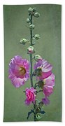 Pink Hollyhocks Bath Towel