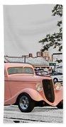 Pink Hot Rod Cruising Woodward Avenue Dream Cruise Selective Coloring Bath Towel