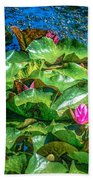 Pink Lilly Flowers And Pads Bath Towel