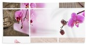 Pink Orchid And Buddha Collage Bath Towel