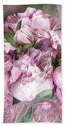 Pink Peonies Bouquet - Square Bath Towel