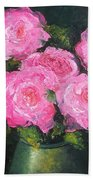 Pink Roses In A Brass Vase Bath Towel