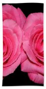 Pink Roses With Brush Stroke Effects Bath Towel