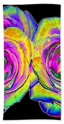 Pink Roses With Colored Foil Effects Bath Towel