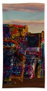 Pink Sky At Cadillac Ranch Bath Towel
