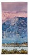 Pink Sunset On Taos Mountain Bath Towel