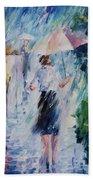 Pink Umbrella - Palette Knife Oil Painting On Canvas By Leonid Afremov Bath Towel