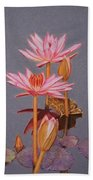 Pink Water Lilies Bath Towel