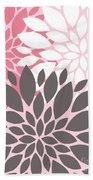 Pink White Grey Peony Flowers Bath Towel
