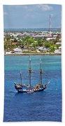 Pirate Ship In Cozumel Bath Towel