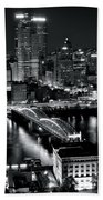 Pittsburgh Black And White  Hand Towel