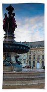 Place De La Bourse Buildings At Dusk Bath Towel