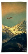 Plane Flying Over Mountains Hand Towel