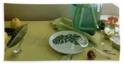 Plates, Apples And A Vase On A Green Tablecloth Hand Towel