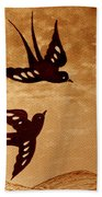 Playful Swallows Original Coffee Painting Hand Towel