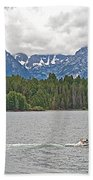Playing In Colter Bay In Grand Teton National Park-wyoming Bath Towel