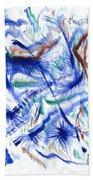 Plume Bleues Bath Towel
