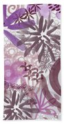 Plum And Grey Garden- Abstract Flower Painting Bath Towel