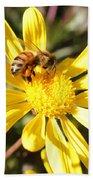 Pollen-laden Bee On Yellow Daisy Bath Towel
