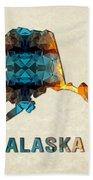 Polygon Mosaic Parchment Map Alaska Bath Towel