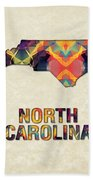 Polygon Mosaic Parchment Map North Carolina Bath Towel