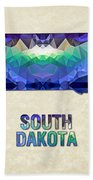 Polygon Mosaic Parchment Map South Dakota Bath Towel
