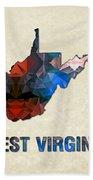 Polygon Mosaic Parchment Map West Virginia Bath Towel