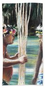 Polynesian Men With Spears Bath Towel
