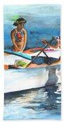 Polynesian Vahines Around Canoe Bath Towel