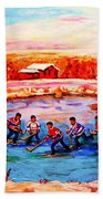 Pond Hockey Game By Montreal Hockey Artist Carole Spandau Bath Towel