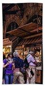 Ponte Vecchio Merchants - Florence Bath Towel