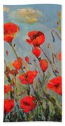 Poppies In The Wind Bath Towel
