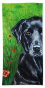 Poppy - Labrador Dog In Poppy Flower Field Bath Towel